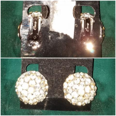 Round Rhinestone Clip Earring
