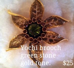 Green Stone Vintage Pin by Yochi