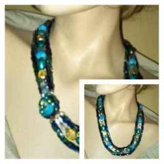 Blue and Green triple choker necklace